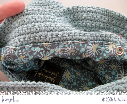 Crocheting Into Fabric : futuregirl craft blog : Tutorial: Sew A Lining Into A Crocheted Bag